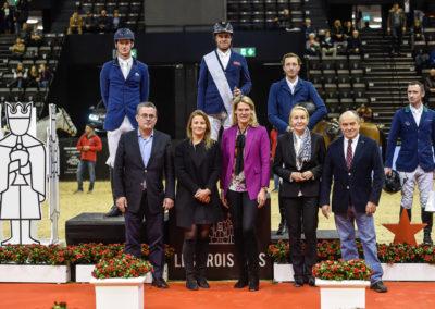 Siegerehrung Les Trois Rois, Daniel Deusser, Julien Epaillard, Martin Fuchs (von links)